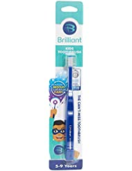 Brilliant Kids Toothbrush Ages 5-9 Years - When Adult Teeth Appear - BPA Free Super-Fine Micro Bristles Clean All-Around Mouth, Kids Love Them, Royal, 1 Count