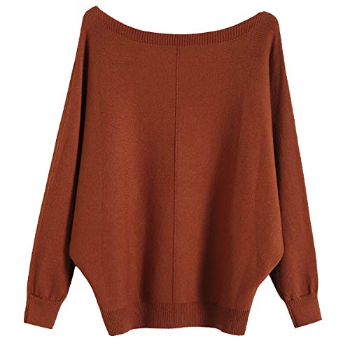 GABERLY Boat Neck Batwing Sleeves Dolman Knitted Sweaters and Pullovers Tops for Women (Caramel-2, One Size)