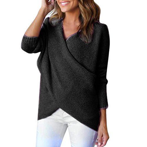 TAORE Women Long Sleeve V-Neck Cross Oversized Knitted Crewneck Casual Pullovers Sweater (M, - Black Nude Metal