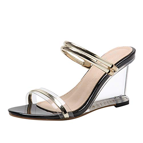 Cenglings Women's Casual Sandals High Heels Sandals Beach Open Toe Shoes Transparent Slippers Sexy Beach Sandals Gold