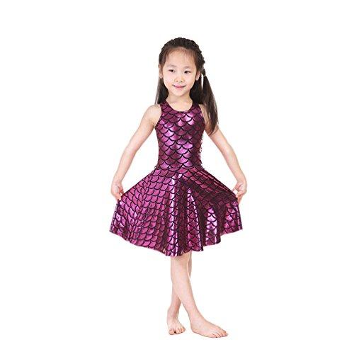 Lesubuy Bling Bling Rose Red Fish Scales Mermaid Tail Children Girls Knee Length Skater Skating Dress X-Large]()