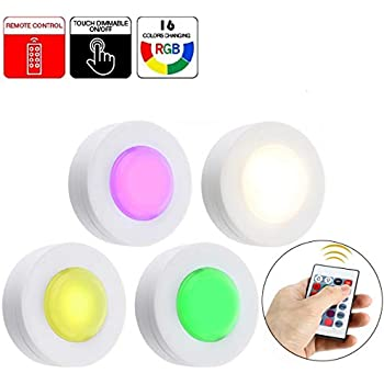 Honwell16 Colors Changing Led Puck Lights Tap Lights
