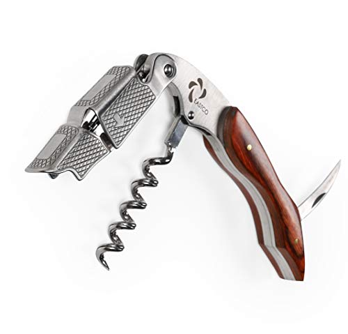 Eastco Professional 3-in-1 Pakka Wood Waiters Corkscrew Wine Opener, Beer Bottle Opener and Foil Cutter for Sommelier, Waiters and Bartenders – A Nice Velvet Pouch Included