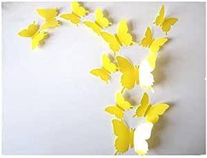 12pcs 3D yellow Butterfly Sticker Decal Magnet Wall Stickers Art Design Home Decoration,WIDO075