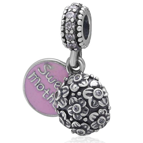 Pink Sweet Mother Rose Flower Charm 925 Silver Bead Fits Pandora Charms