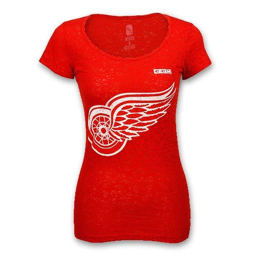 Detroit Red Wings Burnout Scoop Neck T-Shirt by CCM, Red, XL
