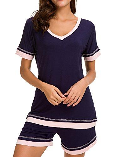 Dolay Sleepwear Women V-Neck Pajama Set Cotton Short Sleeve PJS Set (Navy, Large) by Dolay (Image #4)