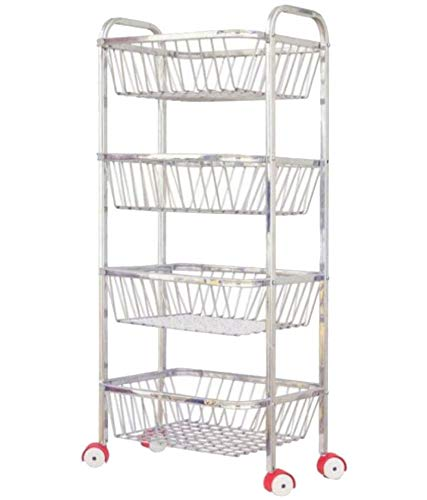 Stainless Steel Assembled 4 Layer Kitchen Trolley Rack for Storage VegetableUtensil (Silver)