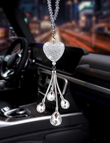 Liaht Blue EZEYU Bling Car Rear View Mirror Charm,Crystal Sun Catcher Ornament,Car Charm Decoration,Rhinestone Hanging Ornament for Car /& Home Decor