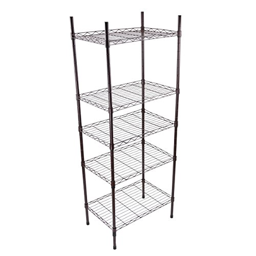 Yontree Adjustable Steel 5 Tiers Wire Shelving Unit on Wheels Garage Shelves Kitchen storage racks 21.7x13.8x57.1 In.