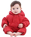 Happy Cherry Winter Baby Boys Girl's One-Piece Hooded Down Cotton Snowsuit Jumpsuit Newborn Romper Red 0-6 Month