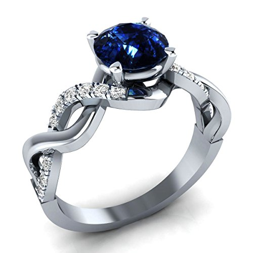 2.56ct White Simulated Diamond & Blue Color Stone 10k WG Engagement-Wedding Ring by Shashvat Diamonds Inc.