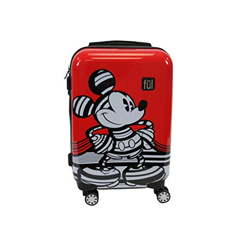 Ful Disney Striped Mickey Mouse Hard Sided Luggage, Red 21 inch