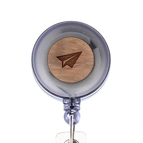 MODERN GOODS SHOP Paper Airplane Jet Id Badge Holder - Wooden ID Holder - Laser Engraved Design Custom ID Holder - Clip On Belt/Pocket Retractable ID Badge Holder