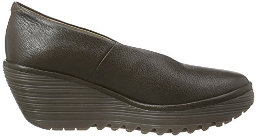 de FLY de YAZ mujer cerrados zapatos cuero Olive 177 tacón London Marrón TnrTYwq1