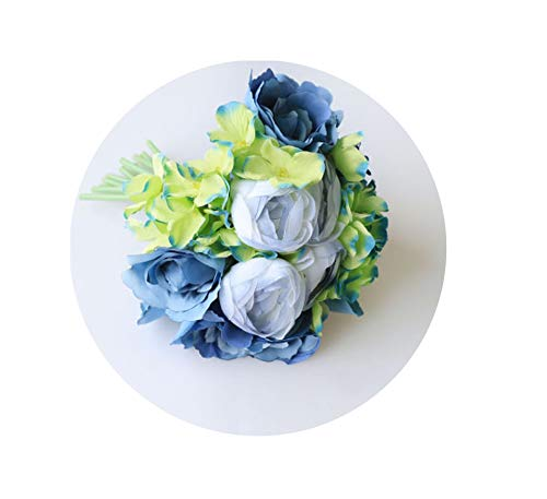 (Artificial-Flowerswedding Bouquet Silk Pink Roses Hydrangea Peony Flower Artificial Wedding Bouquet for Bridesmaid Bridal Marriage Supplies,Blue Bouquet)
