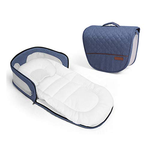 GAIBO 3-in-1 Portable Baby Bed Multifunction with Sleeping Pad and Pillow, Folding Baby Travel Bag Travel Changing Station, 0-6 Months Infants Home Travel,Denim Blue