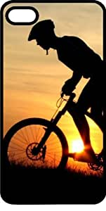 Silhouette Of A Mountain Biker At Sunset Black Rubber Case for Apple iPhone 5 or iPhone 5s