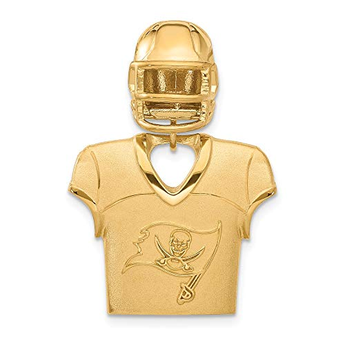 FB Jewels Sterling Silver Gold Plated Tampa Bay Buccaneers Jersey & Helmet Pendant (Tampa Bay Buccaneers Gold Plated)