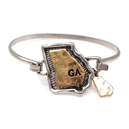 - Elosee State Map Hammered Texture Charm Dangling Wire Hook Bangle Bracelet