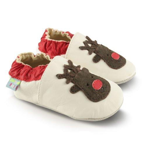 Snuggle Feet Babyschuhe Leder weich - Weihnachten Rentiere | 6-12 Monate