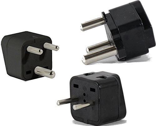 US to INDIA Travel Adapter Plug for USA/Universal to ASIA Type E (C/F), M & D AC Power Plugs Pack of 3 by Plug in Solutions