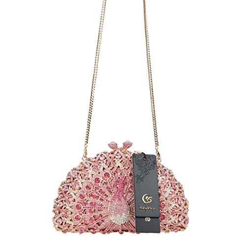 Crystal Girls Peacock For Glitter Pink Evening Clutch Black Bonjanvye Bag XqAHwxFF5