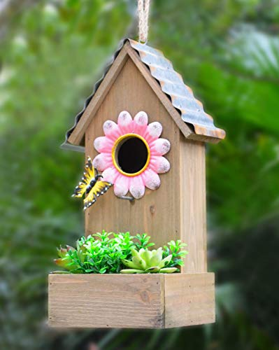 GIFTME 5 Birdhouse Wooden Garden Hanging Decor Faux Succulents& Galvanized Roof and Metal Flower Decorative Outdoor Cute Birdhouse-13.5 Inch Pink