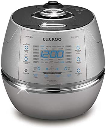 Cuckoo Electric Induction Heating Rice Pressure Cooker 10 Cup Full Stainless Steel Interior with Non-Stick Coating – 3 – Language Voice Navigation and LED Screen with Touch Selection Menu Metallic