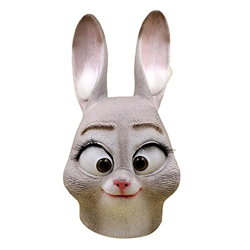BESTYLING Novelty Halloween Costume Head Mask, Theme Parties Latex Zootopia Mask Sloth Fox Rabbit (Rabbit Head Costume)