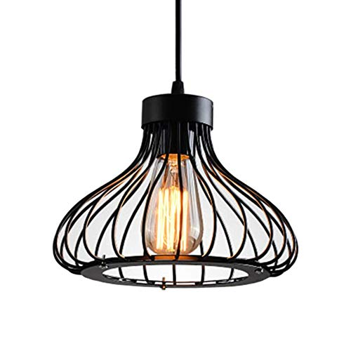 Modern Vintage Industrial Retro Pendant Light Metal Cage Loft Bar Ceiling Light Shade Hanging Pendant Light Wire Cage Lamp Guard (E27 Base, Black)