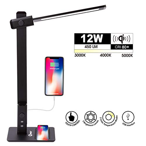 IMIGY 12W Touch LED Desk Lamp with Wireless Charging, Dimmable Office Lamp, Touch Control with 3 Brightness 3 Color Modes and Wireless Charging for iPhone X Xs XsMax, Galaxy S8 S8 S9, Metal Black