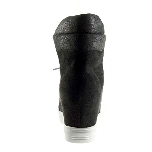 Angkorly - damen Schuhe Sneaker - Hohe - Plateauschuhe - vintage-stil - glänzende - glänzende Keilabsatz high heel 8 CM - Schwarz