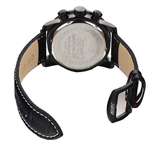 Reloj para los hombres negro 3 Atm Roma Scale cuarzo movimiento tres bajo esferas fonctionnels 24