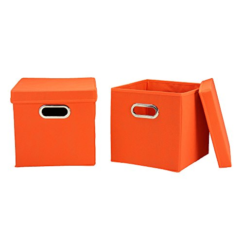 Household Essentials 32-1 Decorative Storage Cube Set with Removable Lids | Orange | 2-Pack