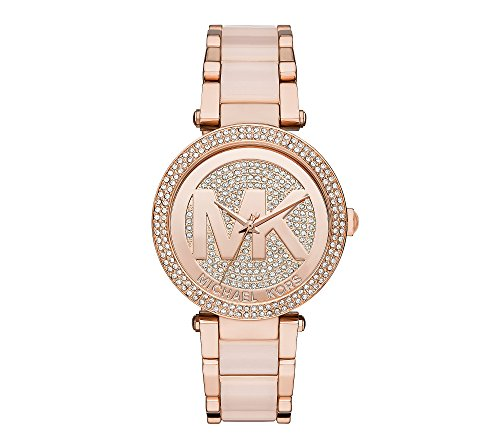 Michael Kors Women's Rose Goldtone Parker Watch With Glitz Logo Dial