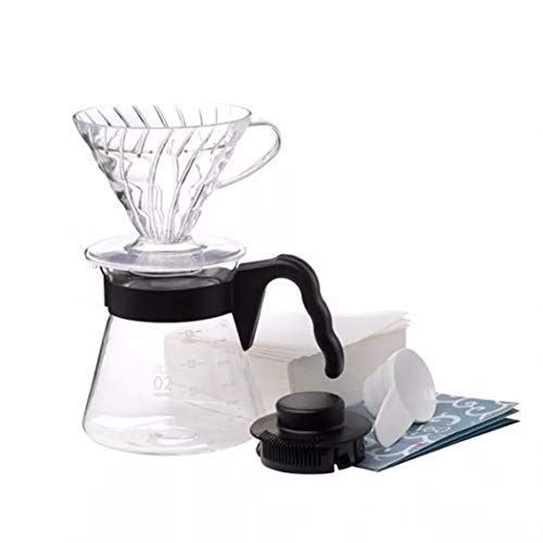 (Hario V60 Pour Over Starter Set with Coffee Dripper, Pot, Scoop and Filters Size 02 Black)