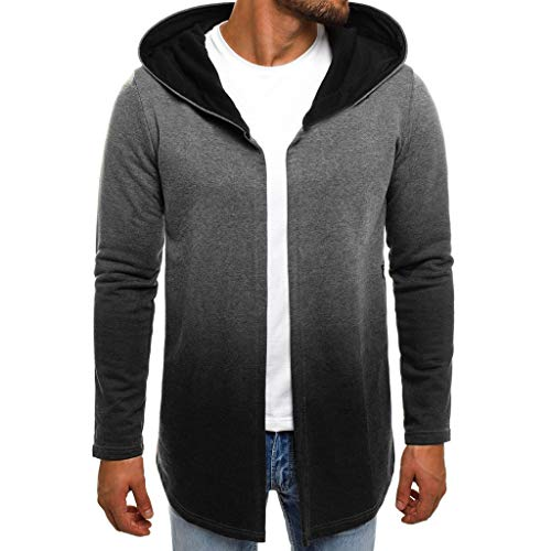 RAINED Men Long Sleeve Solid Gradient Hooded Coat Plus Size Cardigan Fashion Casual Trench Pocket Winter ()
