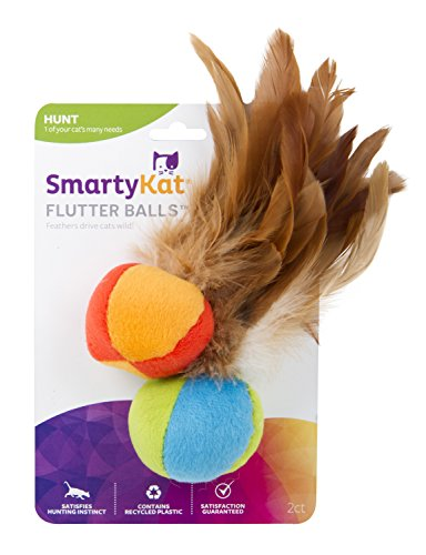 SmartyKat Flutter Ball Cat Toy Feather Ball 2 Pack Feather Ball Cat Toy