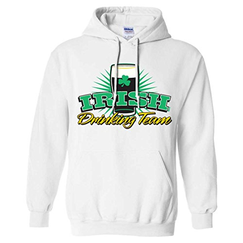 Irish Drinking Team Stout Sweatshirt Hoodie - White X-Large