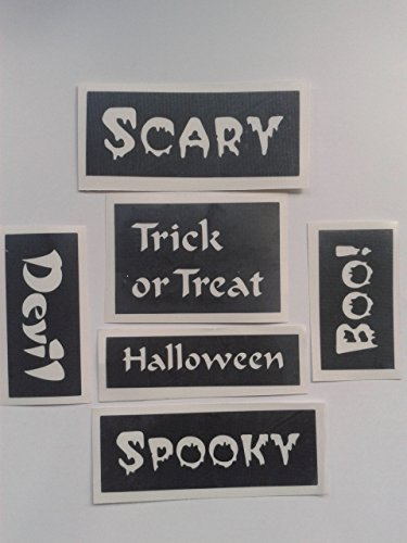 20 x Halloween word stencils (mixed) for glitter tattoos / airbrush / face painting gothic spooky Halloween scary Trick or Treat