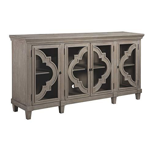 Ashley Furniture Signature Design - Fossil Ridge 4-Door Accent Cabinet - Gray Finish - Black Metal Hardware - Quatrefoil Pattern on Glass Panel Doors