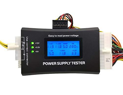 20/24 Pin ATX Computer PC Power Supply Tester for ATX/BTX/ITX/SATA/PCI-E/HDD/BYI Connectors, 1.8'' LCD Screen (Sturdy Plastic Enclosure) (Supply Btx Power)
