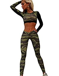 Women 2 Pieces Yoga Tracksuit Summer Camouflage Crop Top Pants Set