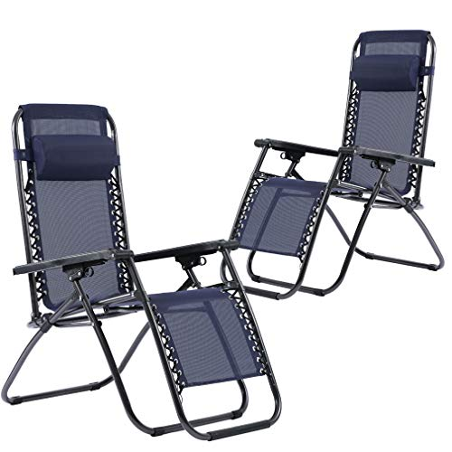 Set of 2 Zero Gravity Chairs Lounge Patio Chairs Outdoor Yard Beach Blue