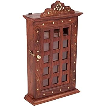 IndiaBigShop Handmade Wooden Key Chain Organizer Key Cabinet Box For Wall  Glass Panel Door Checks Design