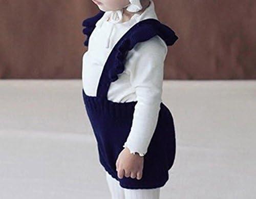41eaDX9VUCL. AC - Pinleck Baby Girls Knitted Ruffle Cute Romper Cross Bandage Jumpsuit Bodysuit