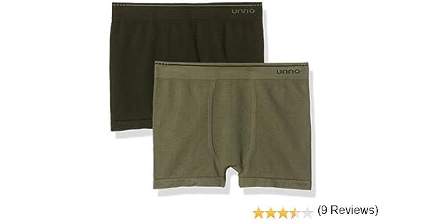 Unno - Calzoncillos sin costuras algodón para hombre, lot de 2, color verde oscuro/verde claro, talla M: Amazon.es: Ropa y accesorios
