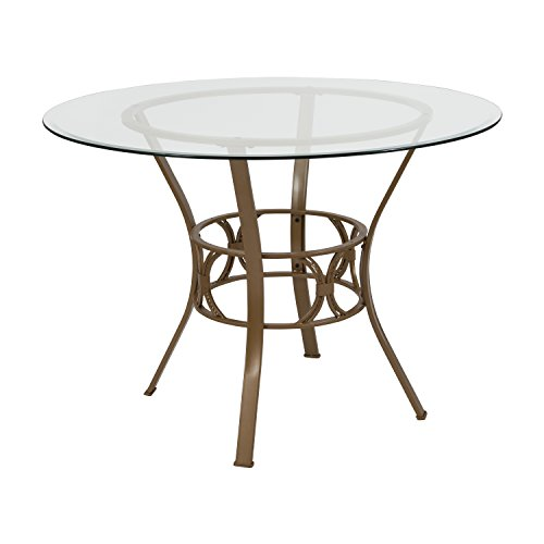 Flash Furniture Carlisle 42'' Round Glass Dining Table with Matte Gold Metal Frame (Glass Beveled Dining Set Table)