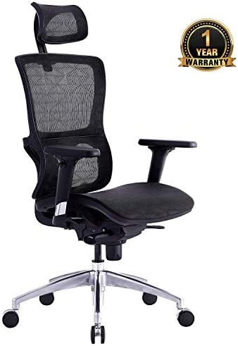 Ergonomic Office Chair Home Office Chair Mesh Chair with Elastic Mesh, Breathable Cushion, Metal Base, Multi-function Adjustment